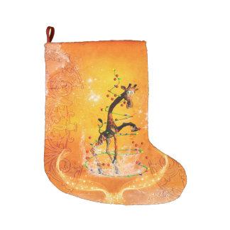 Grande Chaussette De Noël Girafe mignonne de bande dessinée avec l'arbre de
