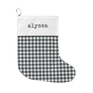 Grande Chaussette De Noël Guingan noir et blanc moderne de la machine à