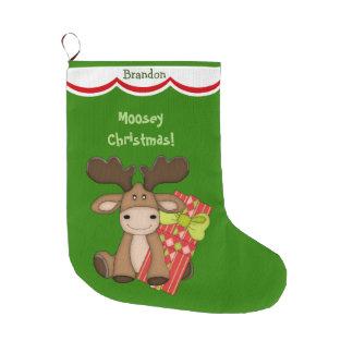 Grande Chaussette De Noël Noël mignon de Moosey personnalisé