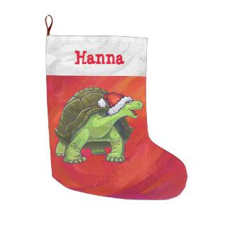 Grande Chaussette De Noël Noël personnalisé de fête de tortue