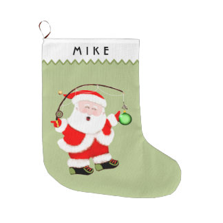 Grande Chaussette De Noël Pêche Père Noël