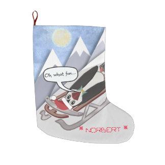 Grande Chaussette De Noël Pingouin sarcastique sautant de Jiminy -