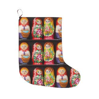Grande Chaussette De Noël Poupées colorées de Matryoshka
