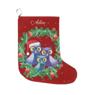 Grande Chaussette De Noël Rouge personnalisé de guirlande de famille de