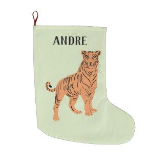 Grande Chaussette De Noël Tigre féroce personnalisé