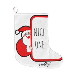 Grande Chaussette De Noël Un Noël gentil de typographie stockant Père Noël