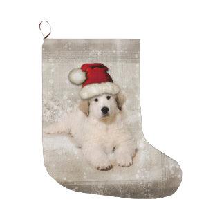 Grande Chaussette De Noël Vacances de Noël - casquette de Père Noël de chiot