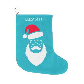 Grande Chaussette De Noël Verres et moustache de barbe de Père Noël Red Hat