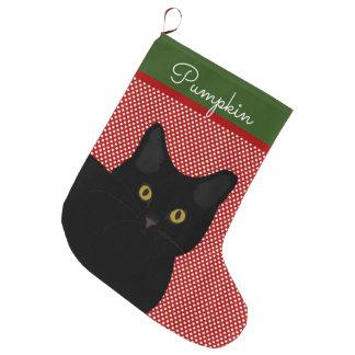 Grande Chaussette De Noël Yeux noirs de jaune de chat de cheveux courts