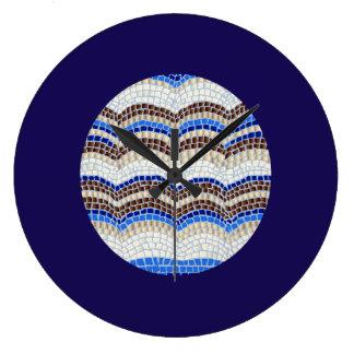 Grande horloge murale ronde de mosaïque bleue