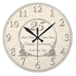 Grande Horloge Ronde 25ème L'anniversaire de mariage synchronise la