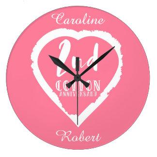 Grande Horloge Ronde 2ème anniversaire de mariage de coton de coeur