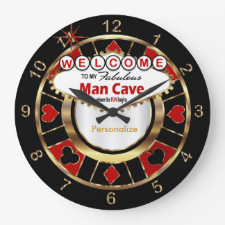 Grande Horloge Ronde Accueil à la caverne d'homme de style de Las Vegas
