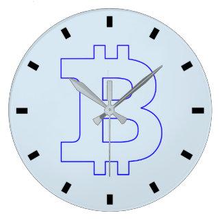 Grande Horloge Ronde Affaires de graphiques de logo de Bitcoin, mur de