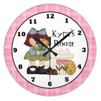 Grande Horloge Ronde Ajoutez l'horloge murale nommée de pièce d'enfants