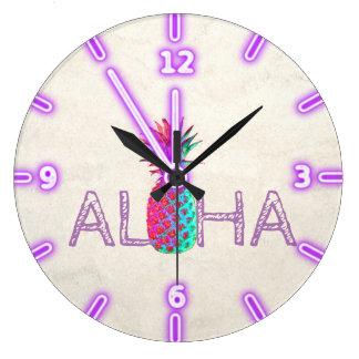 Grande Horloge Ronde Aloha ananas hawaïen adorable
