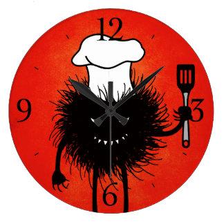Grande Horloge Ronde Amours mauvais de chef d'insecte à faire cuire