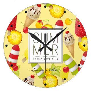 Grande Horloge Ronde Amusement de fruits et de glace d'été