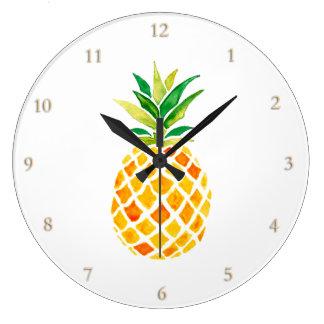 Grande Horloge Ronde ananas d'aquarelle