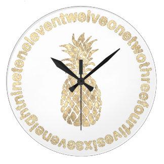 Grande Horloge Ronde ananas d'or de faux