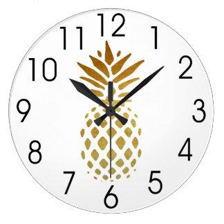 Grande Horloge Ronde Ananas d'or, fruit en or