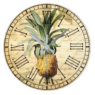 Grande Horloge Ronde Ananas français vintage chic rustique