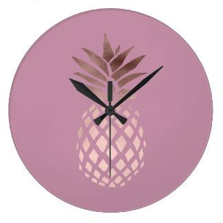 Grande Horloge Ronde ananas tropical de poussin d'or rose élégant