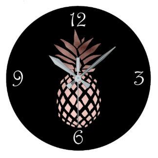Grande Horloge Ronde ananas tropical d'or rose clair élégant de faux