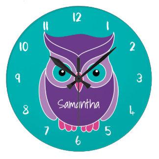 Grande Horloge Ronde Animal personnalisé par enfants turquoises