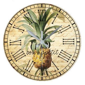 Grande Horloge Ronde Apatit français vintage chic de fève d'ananas