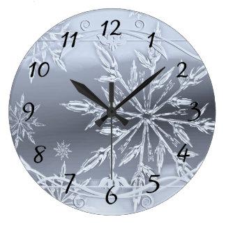Grande Horloge Ronde Argent de neige de Noël