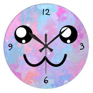 Grande Horloge Ronde Arrière - plan en pastel de l'espace de Kawaii