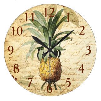 Grande Horloge Ronde Art français vintage chic d'ananas de calligraphie