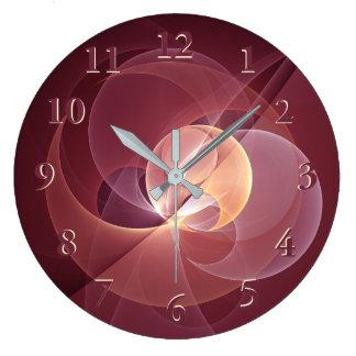 Grande Horloge Ronde Art moderne abstrait de fractale de rose de vin