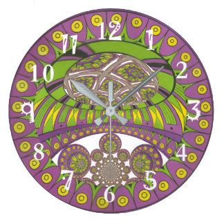 Grande Horloge Ronde Bagout ethnique décoratif de prune de dentelle