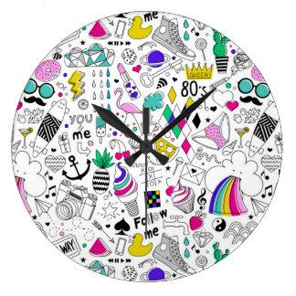 Grande Horloge Ronde Bande dessinée blanche de croquis de l'arc-en-ciel