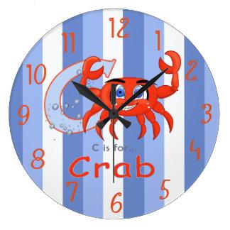 Grande Horloge Ronde Bande dessinée drôle et souriante unique de crabe