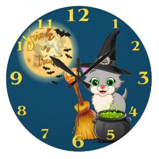 Grande Horloge Ronde Bande dessinée grise de Halloween de chaton