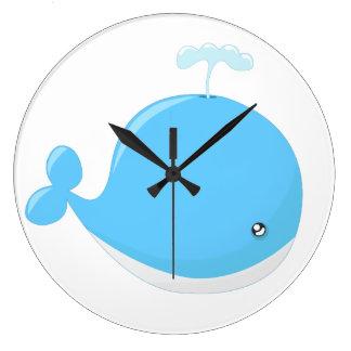 Grande Horloge Ronde Bande dessinée mignonne de kawaii de baleine de