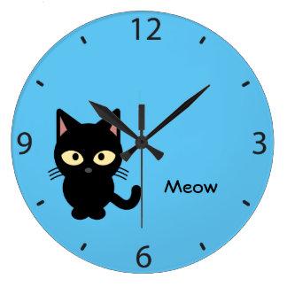 Grande Horloge Ronde Bande dessinée mignonne de meow de chat noir