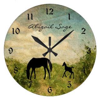 Grande Horloge Ronde Beau cheval personnalisé de jument et de poulain