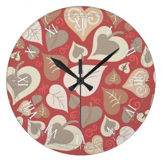Grande Horloge Ronde beau feuille rouge de coeurs d'amour