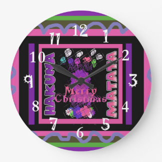 Grande Horloge Ronde Beau Joyeux Noël Hakuna Matata de roses pâles
