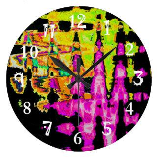 Grande Horloge Ronde Beau motif extraordinaire de couleurs d'eau