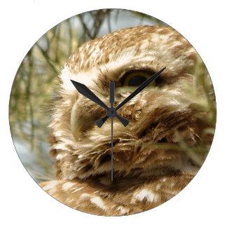 Grande Horloge Ronde Bébé creusant l'animal de faune d'oiseau de hibou