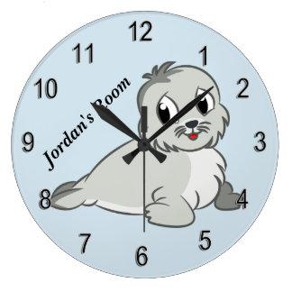 Grande Horloge Ronde Bébé phoque mignon de l'horloge des enfants