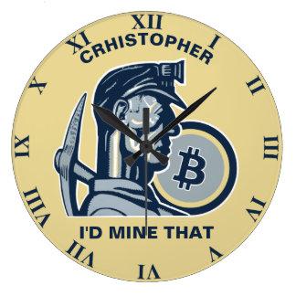 Grande Horloge Ronde Bitcoin extrayant le cru frais drôle de
