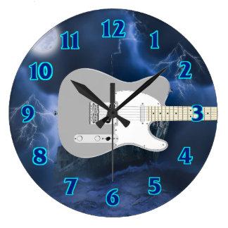 Grande Horloge Ronde Bleu de guitare électrique