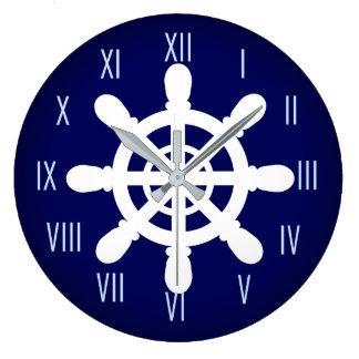 Grande Horloge Ronde Bleu d'horloge de roue de marin