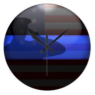 Grande Horloge Ronde Blue Line mince - salut de drapeau